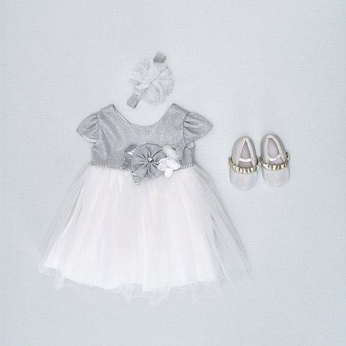 12-18M | שמלה חגיגית  כסופה