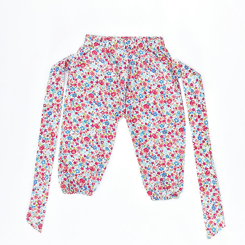 6M | מכנסי כותנה פרחוניים