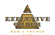 Executive Order's logo of golden All Seeing Eye Pyramid with the words Executive Order Bar