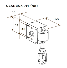 Gear box for manual awning