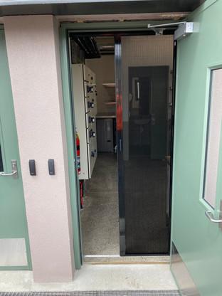 Barrier free pleated door