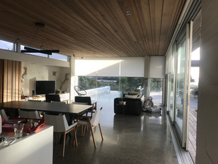 Motorised roller blinds with light filter fabric