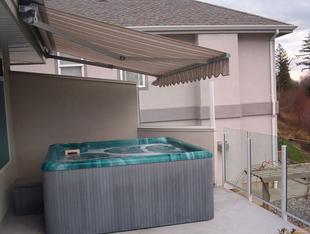 Retractable awning, manual operation