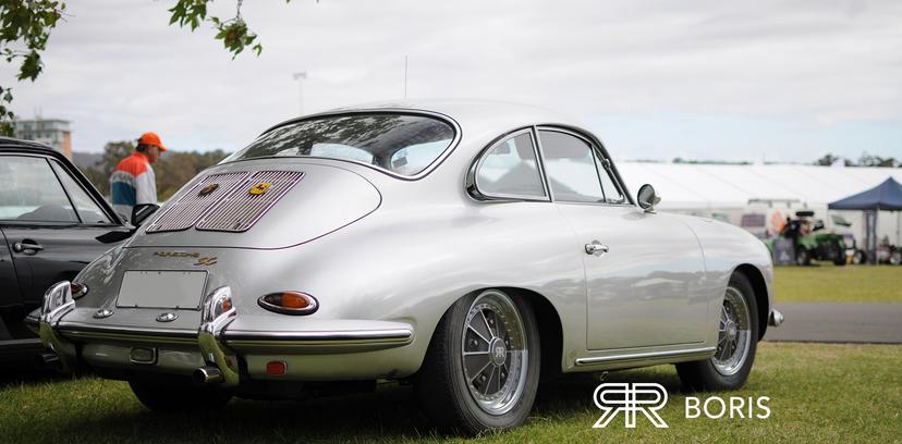 Silver 356 Porsche with BORIS