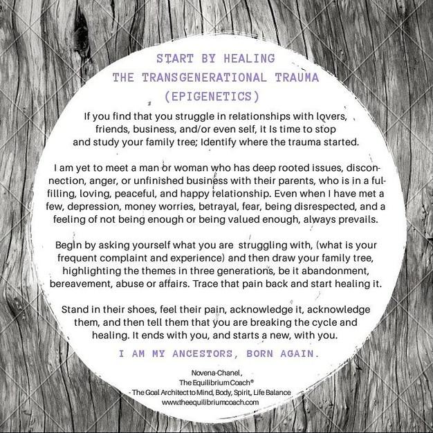 START BY HEALING THE TRANSGENERATIONAL TRAUMA
