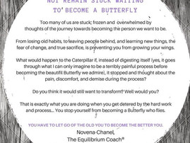 The Caterpillar did not spend time worrying about the process of becoming a Butterfly and neither sh