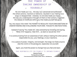 THE POWER OF TAKING OWNERSHIP OF YOURSELF