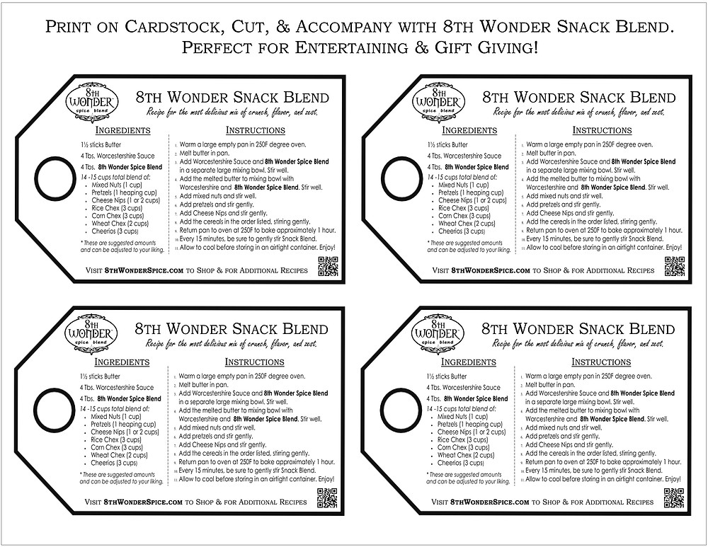 8th Wonder Snack Blend - printable recipe card sheet