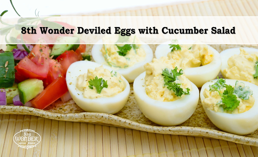 8th Wonder Deviled Eggs with Cucumber Salad