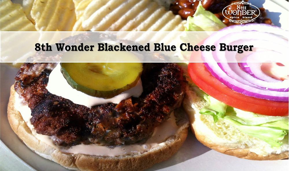 8th Wonder Blackened Blue Cheese Burger