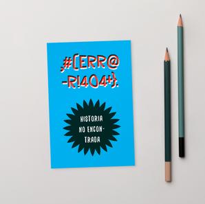 Tarjeta postal Error 404 azul