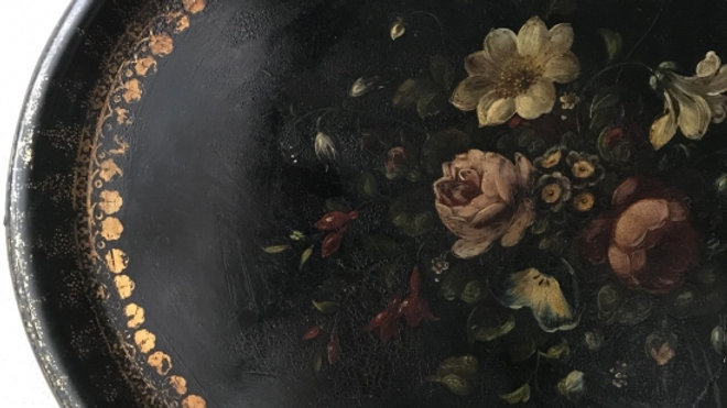 Hand painting flawed black plate 1850'