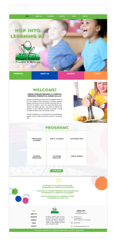 Froggie Frontier Preschool, El Dorado Hills, Sam DeLeon Creative, Website Design