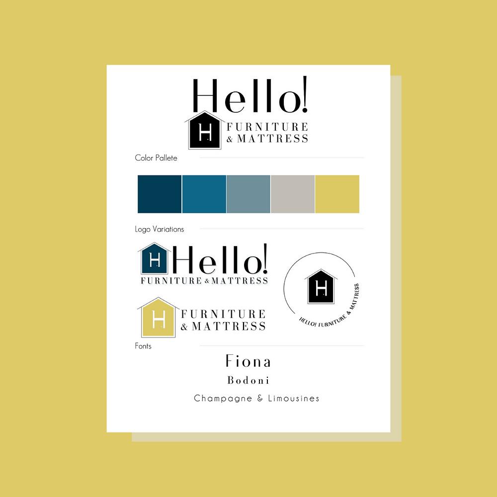 Hello! Furniture and Mattress, Sam DeLeon Creative, logo design