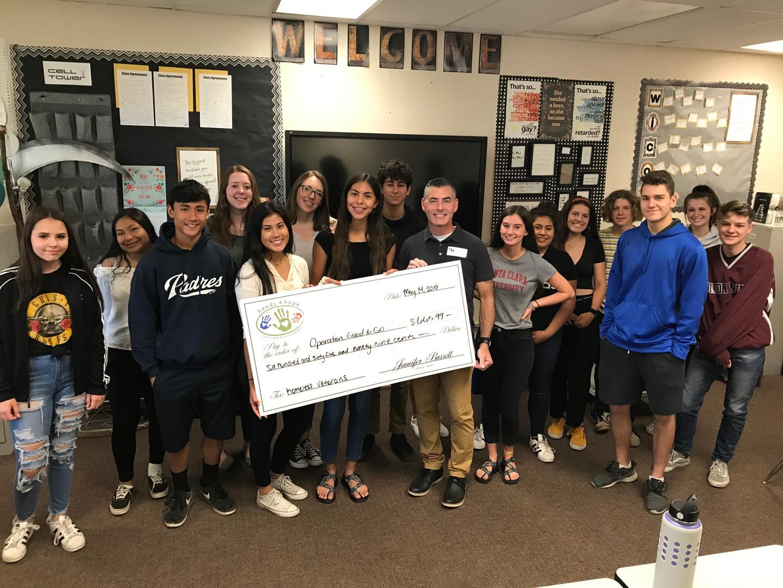 Union Mine High School   Providing Check For Homeless Veterans