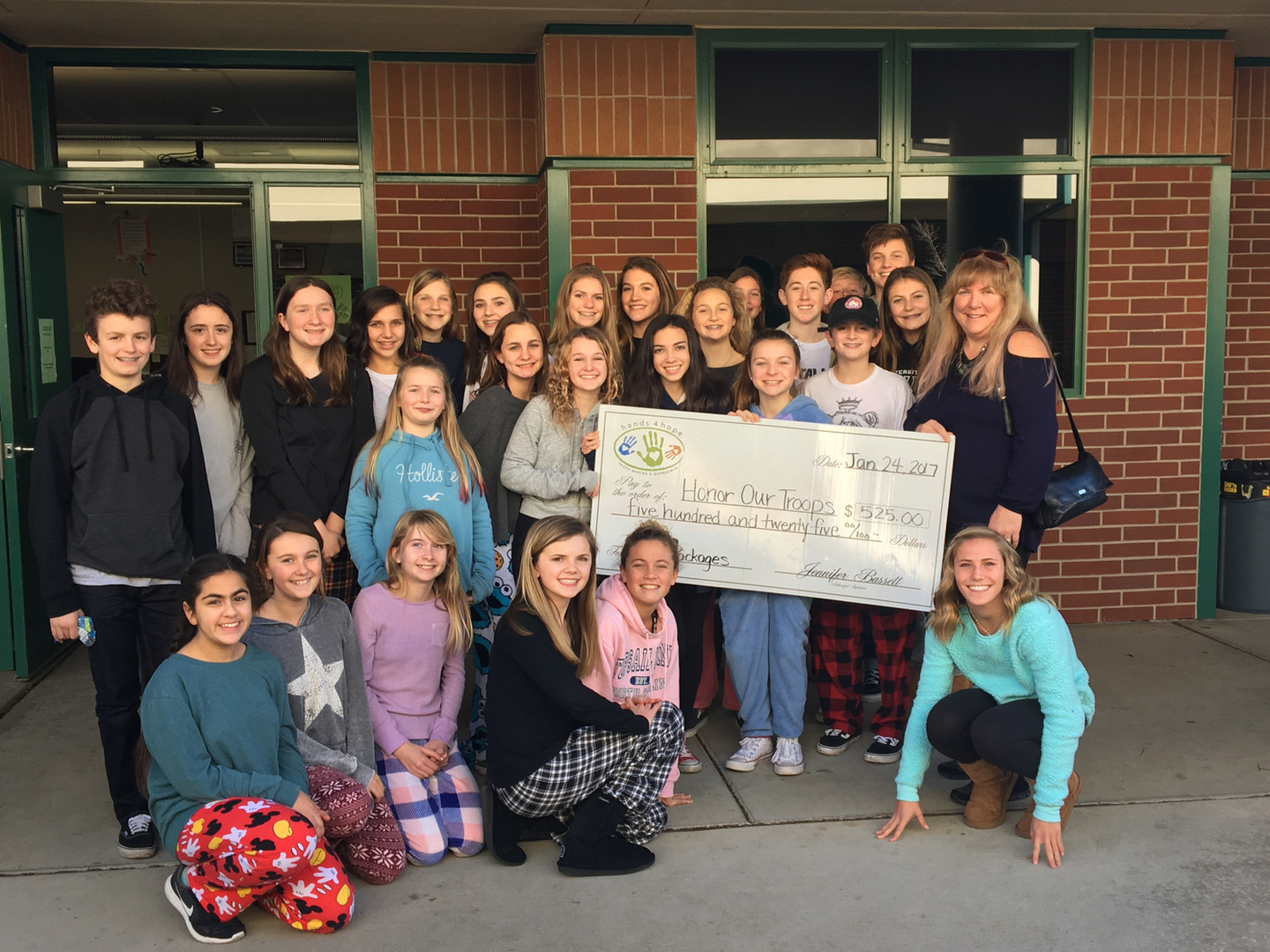 Rolling Hills Middle School   Providing Check To Honor Our Troops