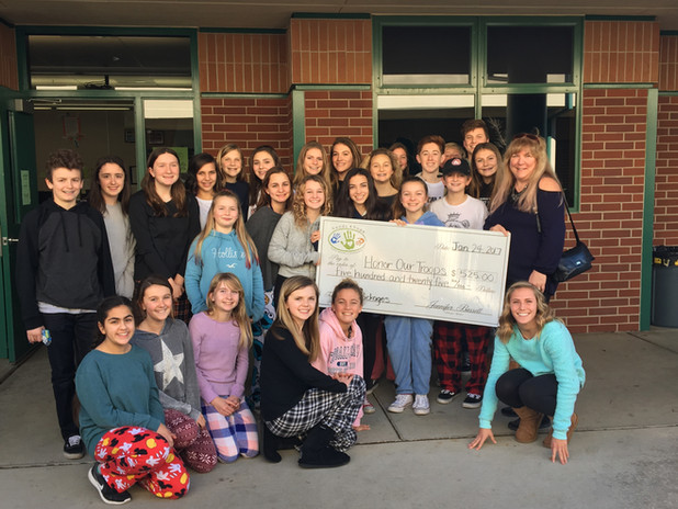Rolling Hills Middle School | Providing Check To Honor Our Troops