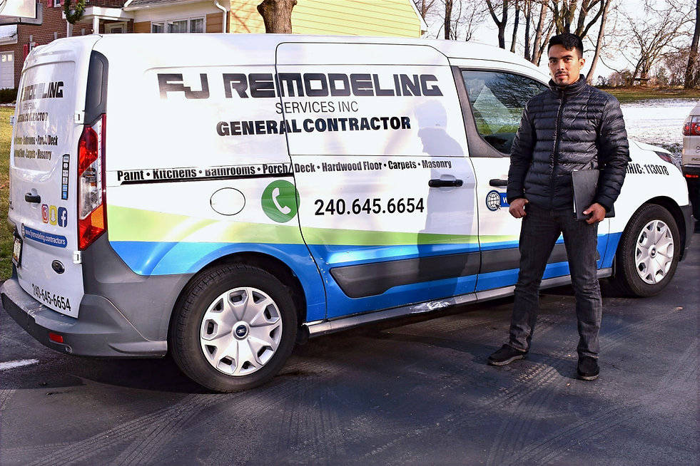 fj remodeling services manager and his van car services