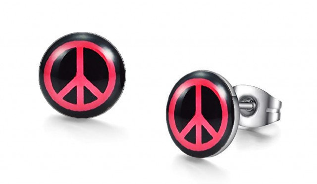 Red Peace Graphic Stud Earrings