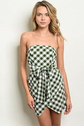 White Green Checkered Dress