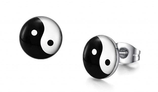 Yin and Yang Graphic Stud Earrings