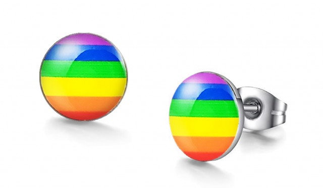 Rainbow Flag Graphic Stud Earrings