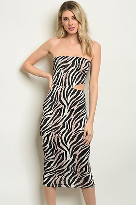 Black Zebra Animal Print Dress