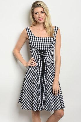White Black Checkered Dress