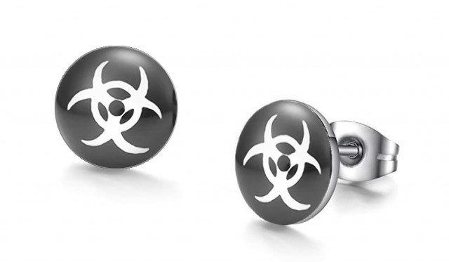 Bio-Hazard Graphic Stud Earrings