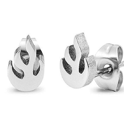 Stainless Steel Stud Earrings, Flames