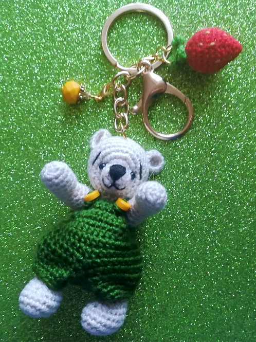 Colourful teddy bear bag charm