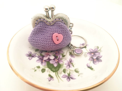 Crochet coin purse 2 inch kiss clasp frame on Key Ring