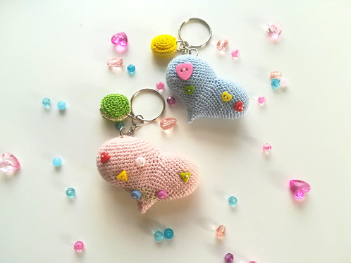 Cute Amigurumi Heart Key Ring