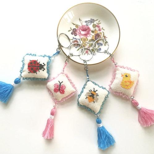 Cross stitch, tasselled, beaded key ring