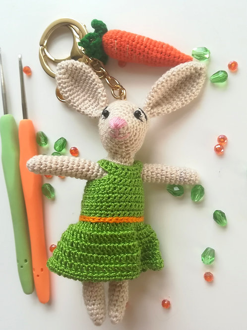 Rabbit & carrot bag charm