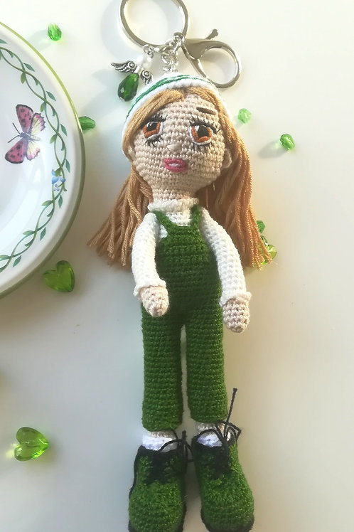 Pretty Girl in dungarees bag charm