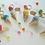 Thumbnail: Colourful beaded ice cream cone & macaroon Key Ring