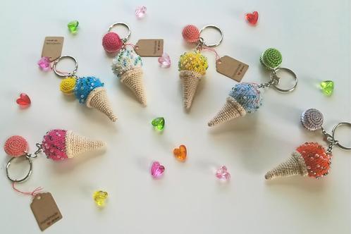 Colourful beaded ice cream cone & macaroon Key Ring