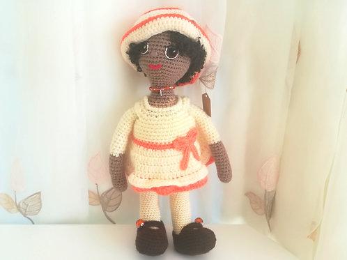 Glamorous Doll in primrose & orange emsemble
