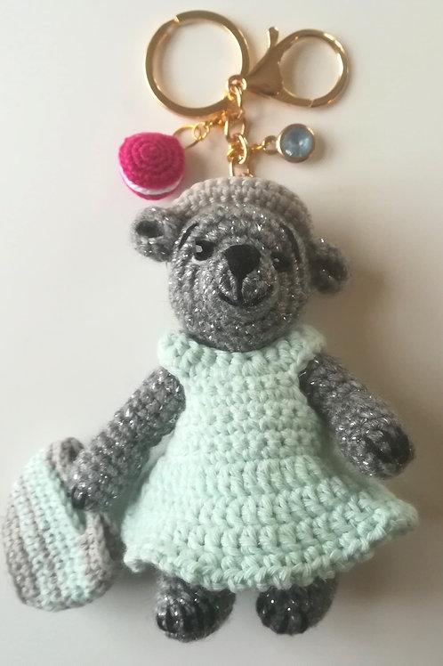 Sparkly Grey Teddy Bear bag charm