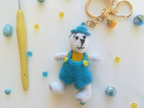 White teddy bear bag charm