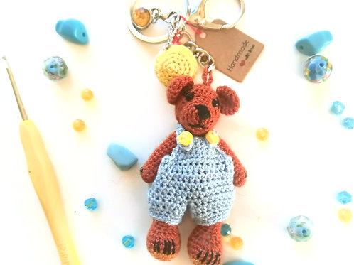 Brown teddy Bear bag charm