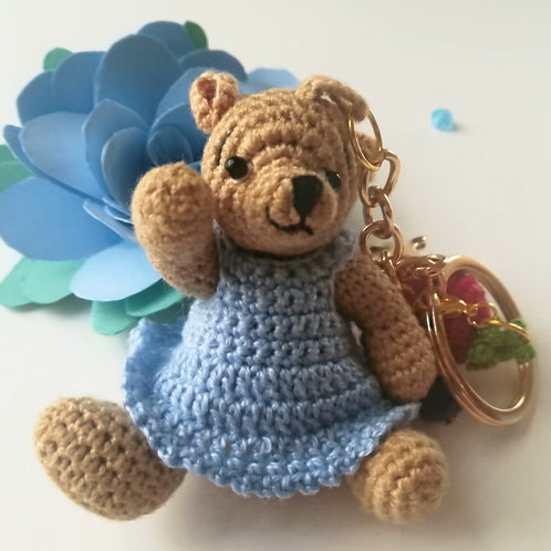 Adorable girl teddy bear bag charm