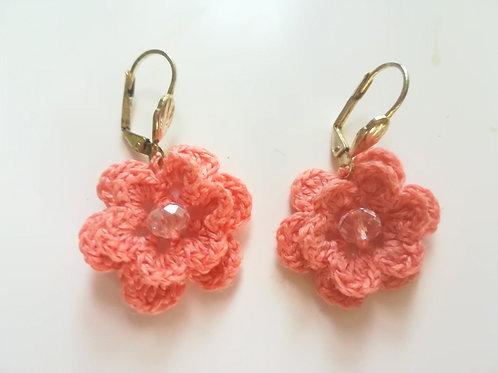 Flower lever back earrings