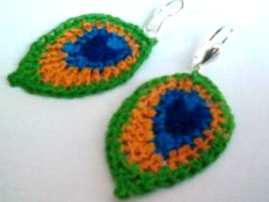 Peacock feather  lever back earrings