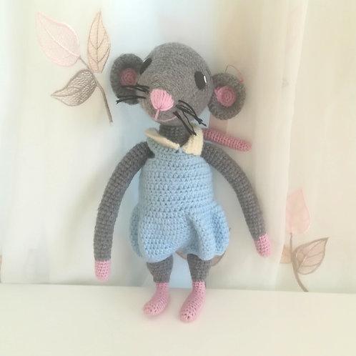 Grey Rat in Blue Romper