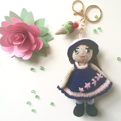Girl with ice cream in Pink & Navy  bag charm