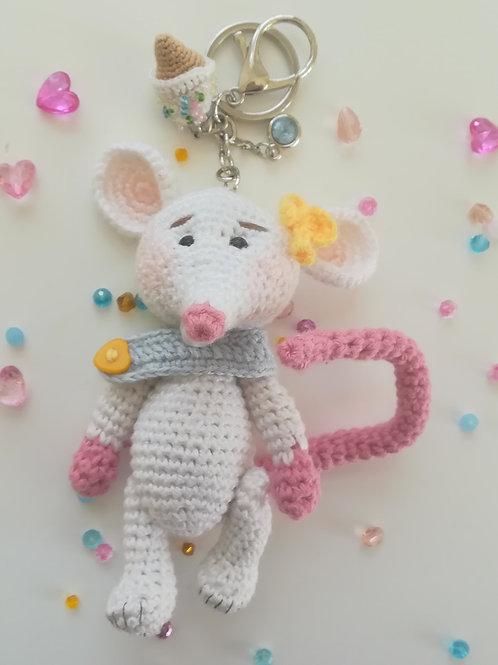 Large white mouse bag charm