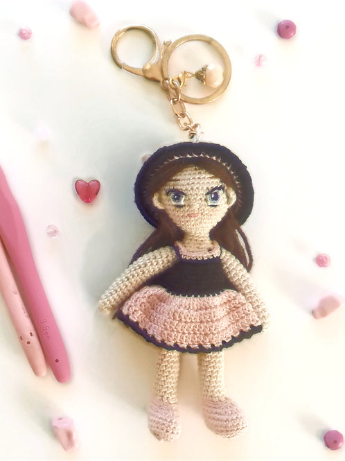 Small girl in pink dress Bag Charm
