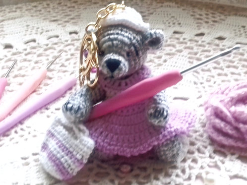 Grey Teddy Bear bag charm
